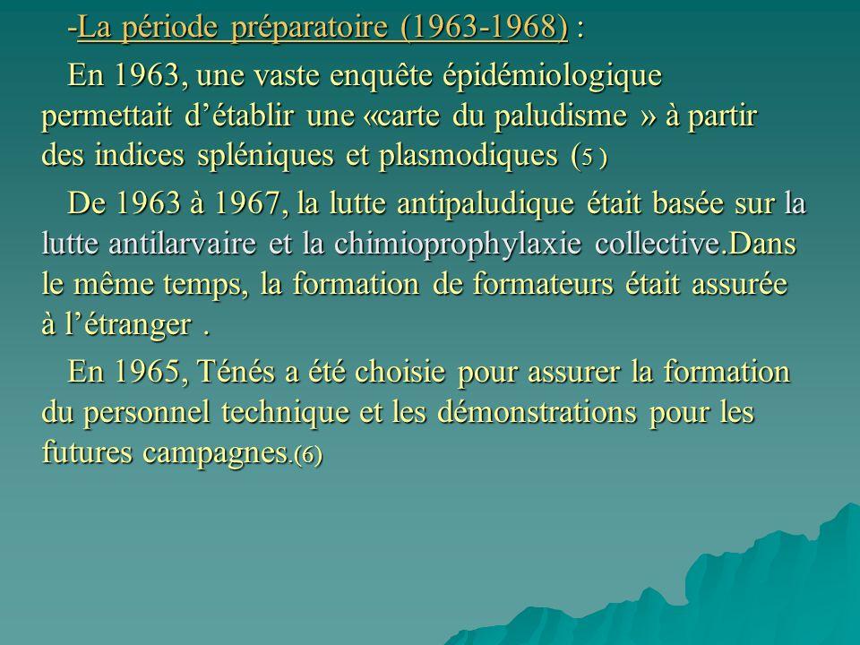 -La période préparatoire (1963-1968) : -La période préparatoire (1963-1968) : En 1963, une vaste enquête épidémiologique permettait détablir une «carte du paludisme » à partir des indices spléniques et plasmodiques ( 5 ) En 1963, une vaste enquête épidémiologique permettait détablir une «carte du paludisme » à partir des indices spléniques et plasmodiques ( 5 ) De 1963 à 1967, la lutte antipaludique était basée sur la lutte antilarvaire et la chimioprophylaxie collective.Dans le même temps, la formation de formateurs était assurée à létranger.
