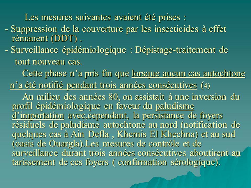 Les mesures suivantes avaient été prises : Les mesures suivantes avaient été prises : - Suppression de la couverture par les insecticides à effet rémanent (DDT).