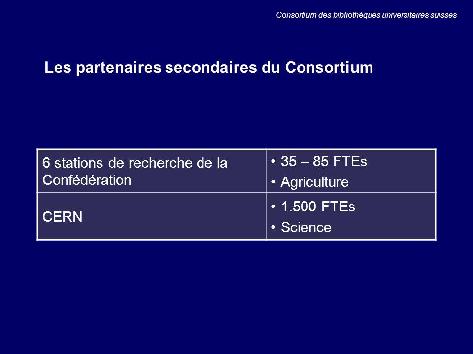 Les partenaires secondaires du Consortium 6 stations de recherche de la Confédération 35 – 85 FTEs Agriculture CERN 1.500 FTEs Science Consortium des bibliothèques universitaires suisses