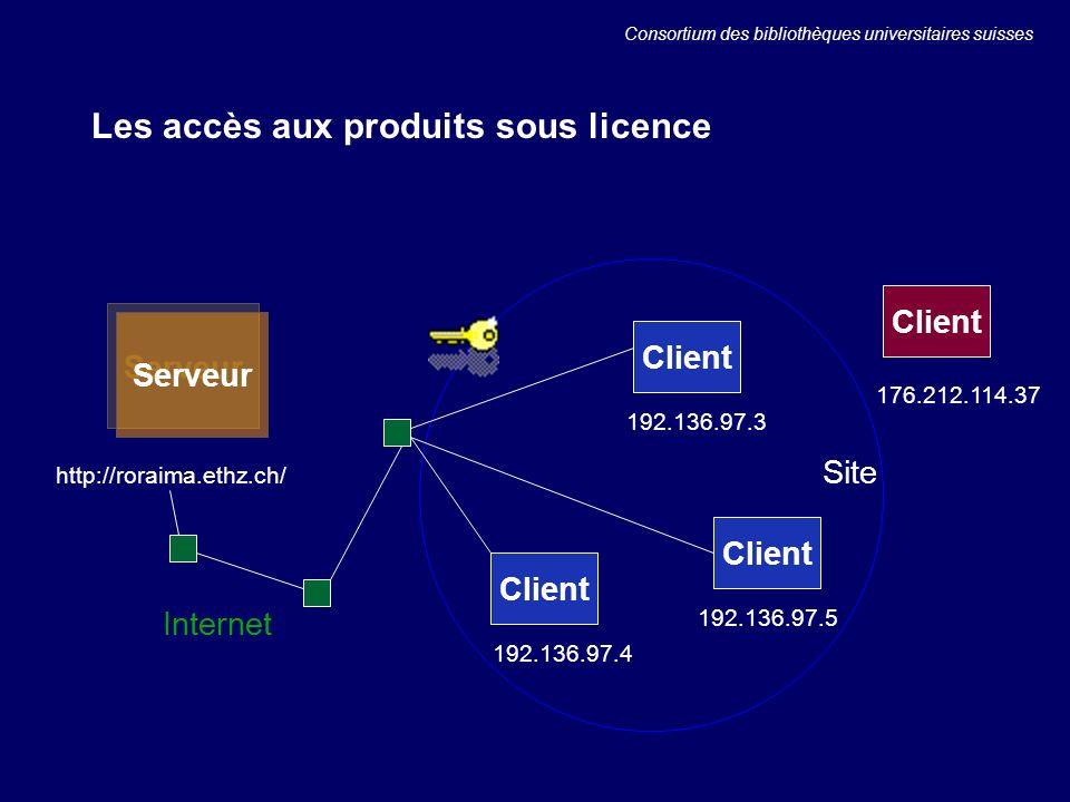 Les accès aux produits sous licence Serveur Client Site Internet 192.136.97.3 192.136.97.4 192.136.97.5 http://roraima.ethz.ch/ 176.212.114.37 Consortium des bibliothèques universitaires suisses