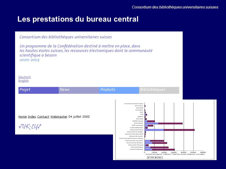 Les prestations du bureau central Consortium des bibliothèques universitaires suisses