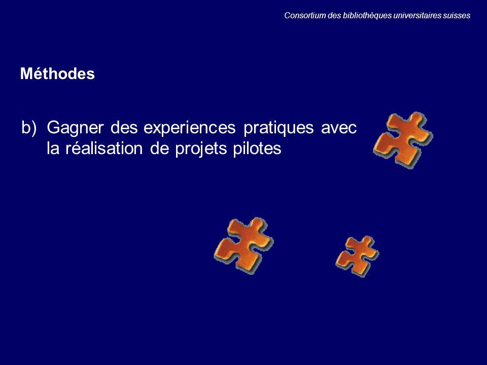 b) Gagner des experiences pratiques avec la réalisation de projets pilotes Méthodes Consortium des bibliothèques universitaires suisses