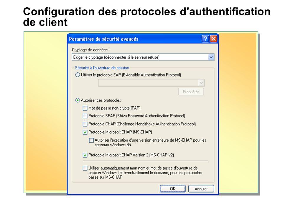 Configuration des protocoles d'authentification de client