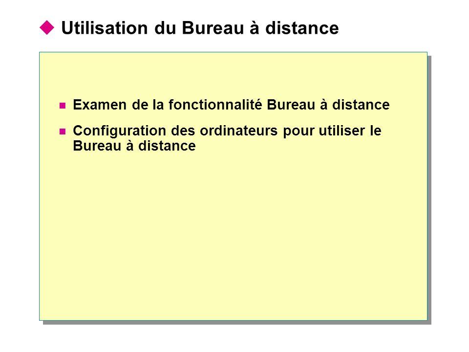 Utilisation du Bureau à distance Examen de la fonctionnalité Bureau à distance Configuration des ordinateurs pour utiliser le Bureau à distance
