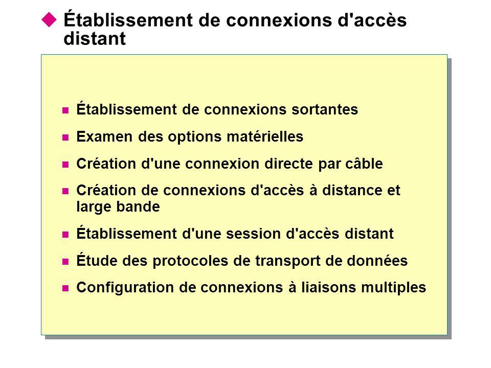 Établissement de connexions d'accès distant Établissement de connexions sortantes Examen des options matérielles Création d'une connexion directe par