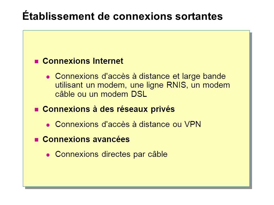 Établissement de connexions sortantes Connexions Internet Connexions d accès à distance et large bande utilisant un modem, une ligne RNIS, un modem câble ou un modem DSL Connexions à des réseaux privés Connexions d accès à distance ou VPN Connexions avancées Connexions directes par câble