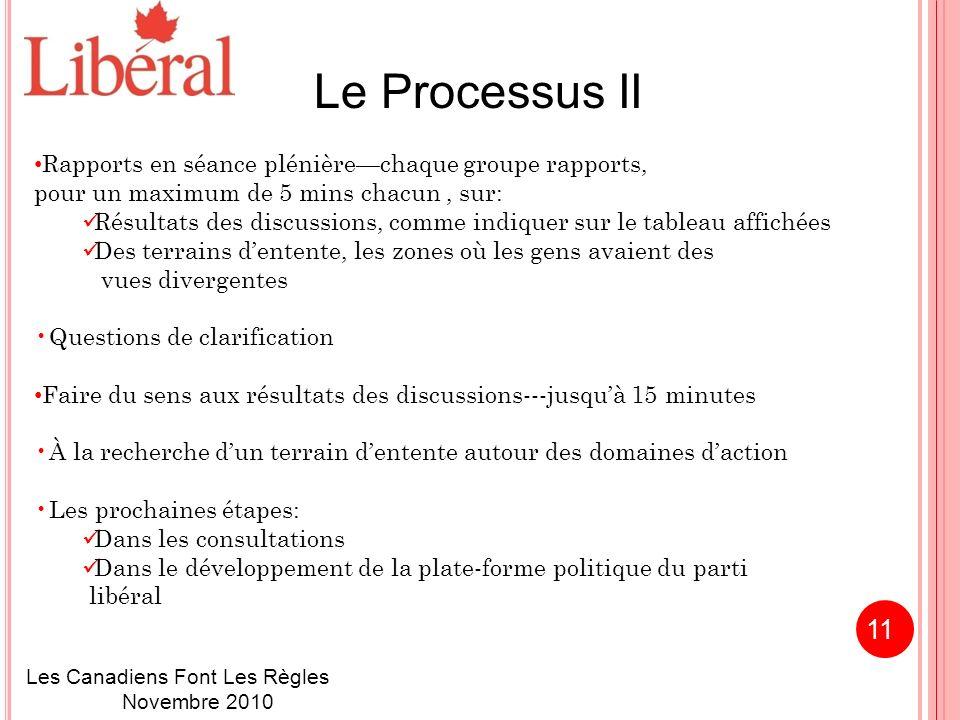 Le Processus II Rapports en séance plénièrechaque groupe rapports, pour un maximum de 5 mins chacun, sur: Résultats des discussions, comme indiquer sur le tableau affichées Des terrains dentente, les zones où les gens avaient des vues divergentes Questions de clarification Faire du sens aux résultats des discussions---jusquà 15 minutes À la recherche dun terrain dentente autour des domaines daction Les prochaines étapes: Dans les consultations Dans le développement de la plate-forme politique du parti libéral Les Canadiens Font Les Règles Novembre 2010 11