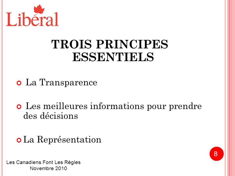 TROIS PRINCIPES ESSENTIELS La Transparence Les meilleures informations pour prendre des décisions La Représentation Les Canadiens Font Les Règles Novembre 2010 8
