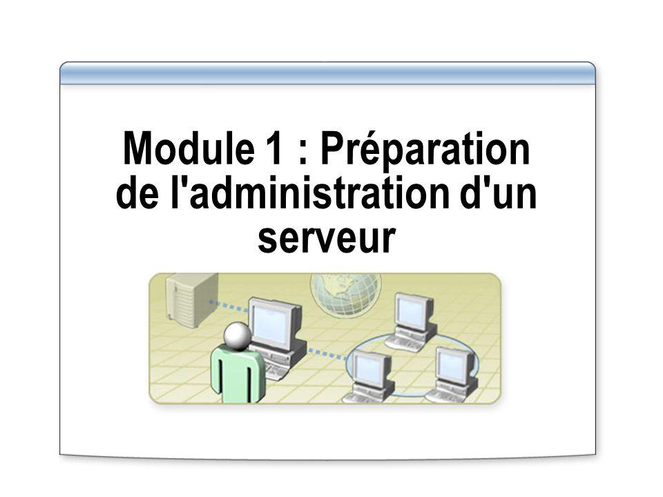 Vue d ensemble Préparation de l administration d un serveur Configuration de la fonction Bureau à distance pour administrer un serveur Gestion des connexions au Bureau à distance