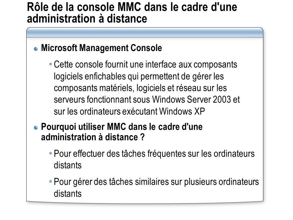 Rôle de la console MMC dans le cadre d une administration à distance Microsoft Management Console Cette console fournit une interface aux composants logiciels enfichables qui permettent de gérer les composants matériels, logiciels et réseau sur les serveurs fonctionnant sous Windows Server 2003 et sur les ordinateurs exécutant Windows XP Pourquoi utiliser MMC dans le cadre d une administration à distance .