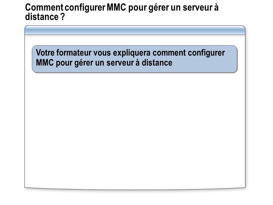 Comment configurer MMC pour gérer un serveur à distance .