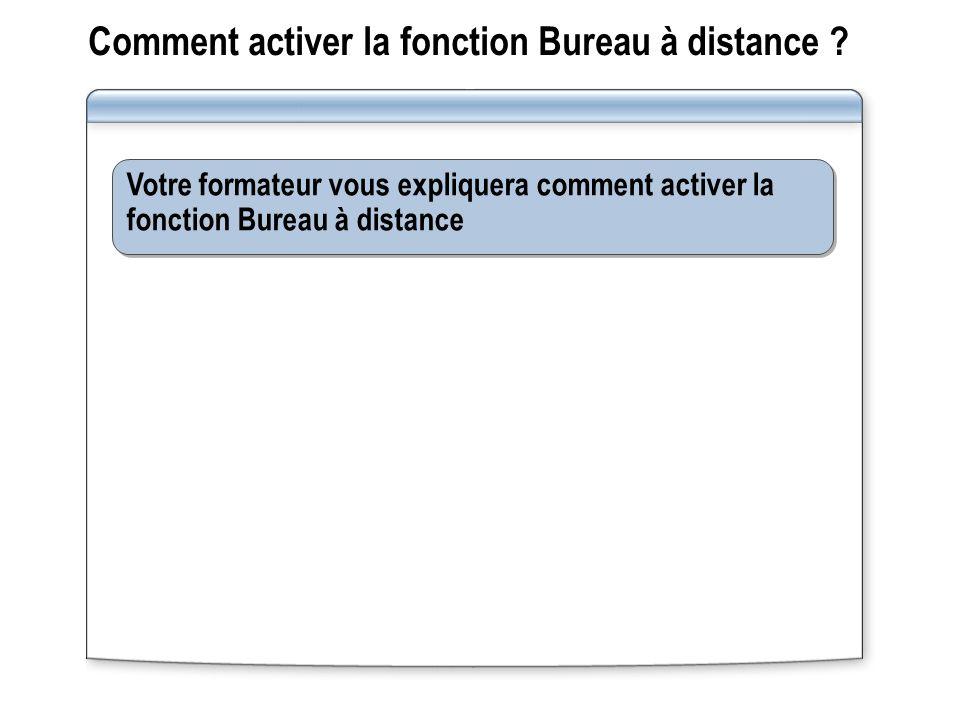Comment activer la fonction Bureau à distance .