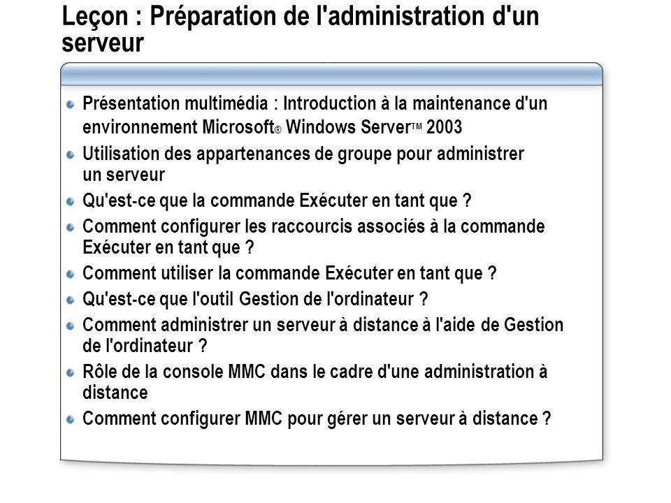 Présentation multimédia : Introduction à la maintenance d un environnement Microsoft Windows Server 2003 Cette présentation fournit une vue d ensemble des tâches abordées dans le cours et de leur rôle dans le cadre de l administration d un serveur.