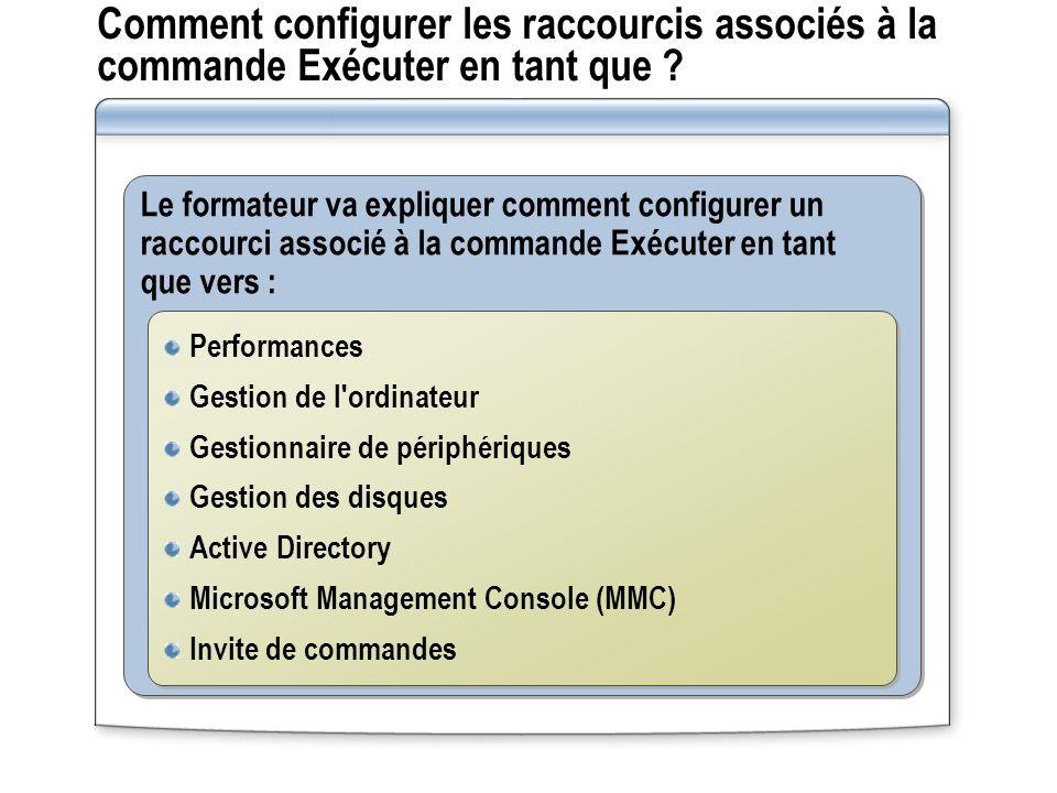 Comment configurer les raccourcis associés à la commande Exécuter en tant que .