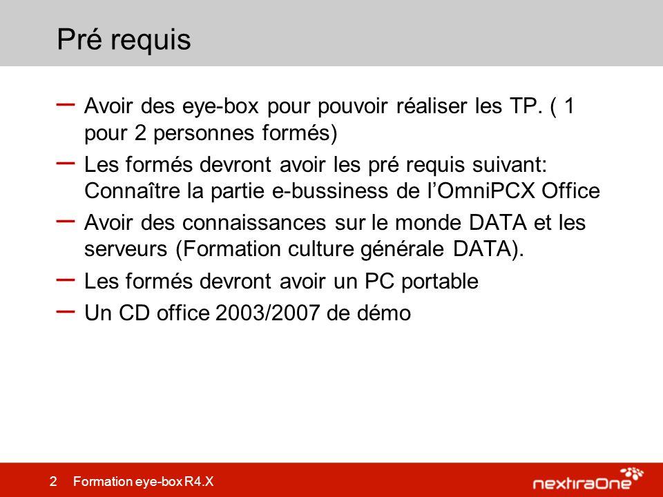 83 Formation eye-box R4.X Synchronisation à un OmniPCX Office – Gestion de la synchronisation –Les pré requis: LEye box et lOXO doivent être sur le réseau LAN Les OPS de lOXO doivent être chargé Le pack téléphonie doit etre chargé sur lEye box –La configuration