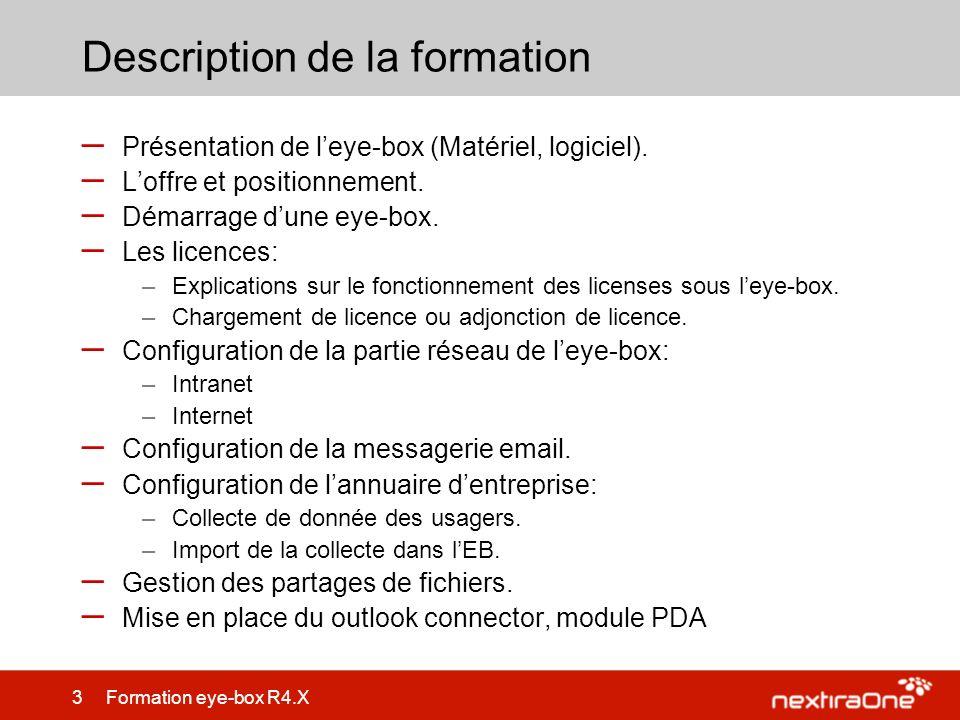 24 Formation eye-box R4.X Configuration de la partie réseau – Définir les routes pour accéder aux différents sous réseau – La route par défaut est notamment utilisée pour Internet