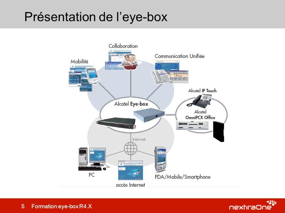 86 Formation eye-box R4.X Maintenance – LAlcatel-Lucent Eyebox doit être redémarrée ou arrêtée depuis un menu de maintenance.