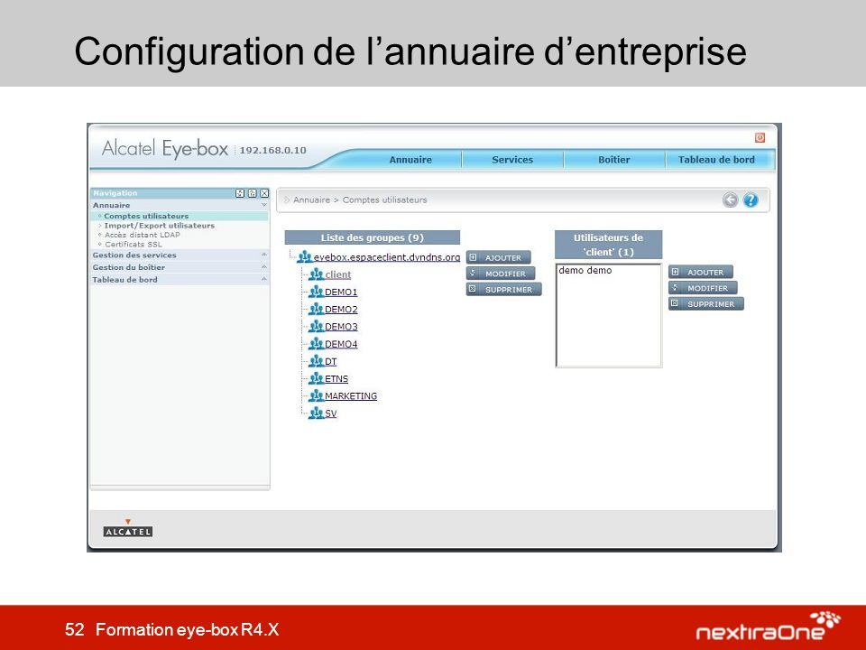 52 Formation eye-box R4.X Configuration de lannuaire dentreprise