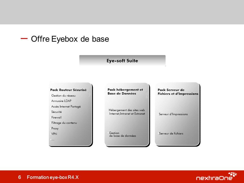 87 Formation eye-box R4.X Maintenance – Support de sauvegarde de lEye-box: –Disque USB connecté à lEyebox –Partage dun disque réseau sur le LAN –Disque de sauvegarde (Version Premium) – Contraintes: –Format fat32,ext2 et ext3 supportés pour disque USB.