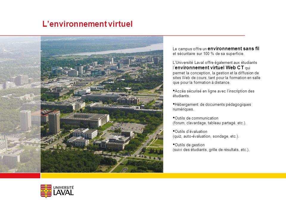 Lenvironnement virtuel Le campus offre un environnement sans fil et sécuritaire sur 100 % de sa superficie.