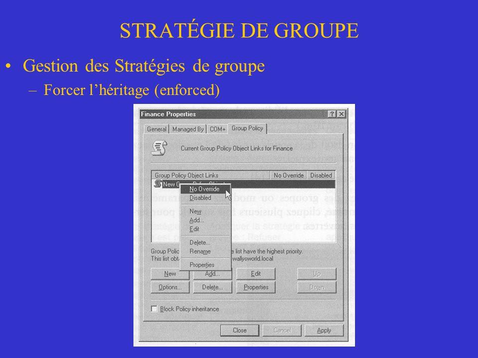 STRATÉGIE DE GROUPE Gestion des Stratégies de groupe –Forcer lhéritage (enforced)