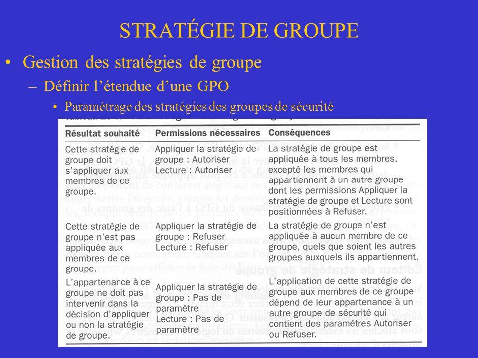 STRATÉGIE DE GROUPE Gestion des stratégies de groupe –Définir létendue dune GPO Paramétrage des stratégies des groupes de sécurité