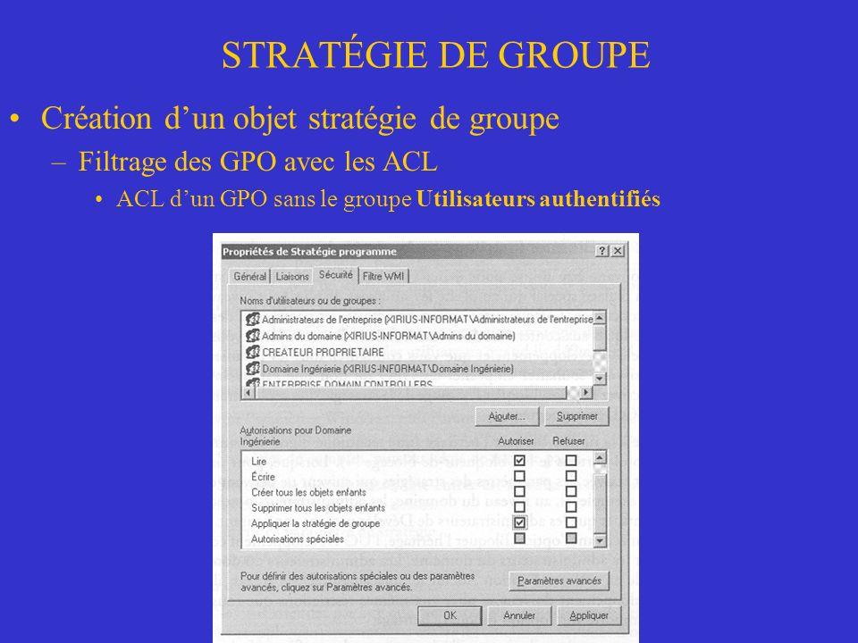 STRATÉGIE DE GROUPE Création dun objet stratégie de groupe –Filtrage des GPO avec les ACL ACL dun GPO sans le groupe Utilisateurs authentifiés