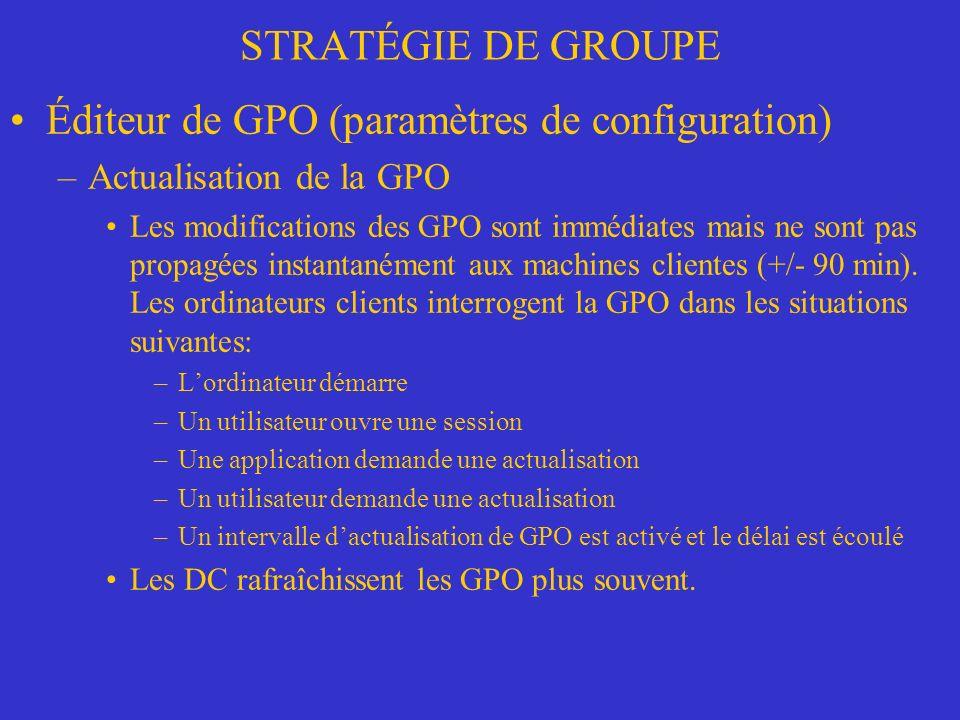 STRATÉGIE DE GROUPE Éditeur de GPO (paramètres de configuration) –Actualisation de la GPO Les modifications des GPO sont immédiates mais ne sont pas propagées instantanément aux machines clientes (+/- 90 min).