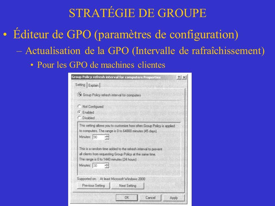 STRATÉGIE DE GROUPE Éditeur de GPO (paramètres de configuration) –Actualisation de la GPO (Intervalle de rafraîchissement) Pour les GPO de machines clientes