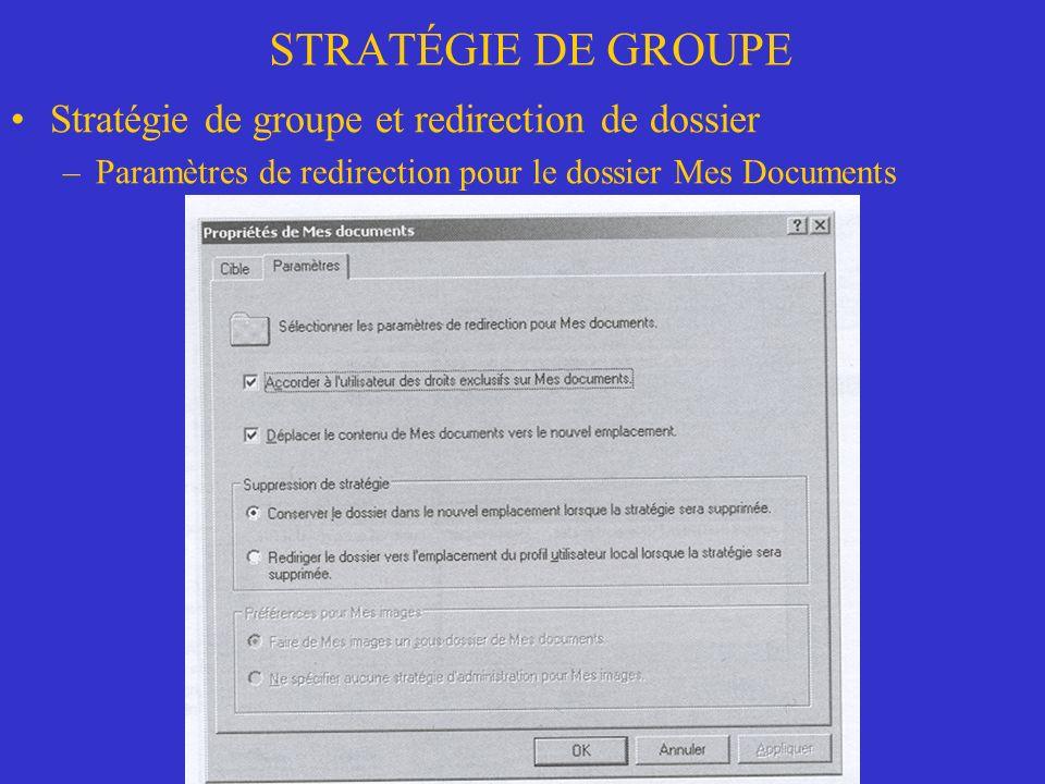 STRATÉGIE DE GROUPE Stratégie de groupe et redirection de dossier –Paramètres de redirection pour le dossier Mes Documents