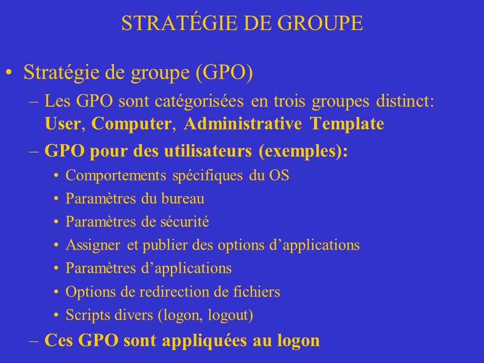 STRATÉGIE DE GROUPE Dépannage des stratégies de groupe –Mode planification RSoP Options de planification de lassistant RSoP –Connexion réseau lent: Certaines GP ne sappliquent pas à une connexion lente ou à une connexion à distance.
