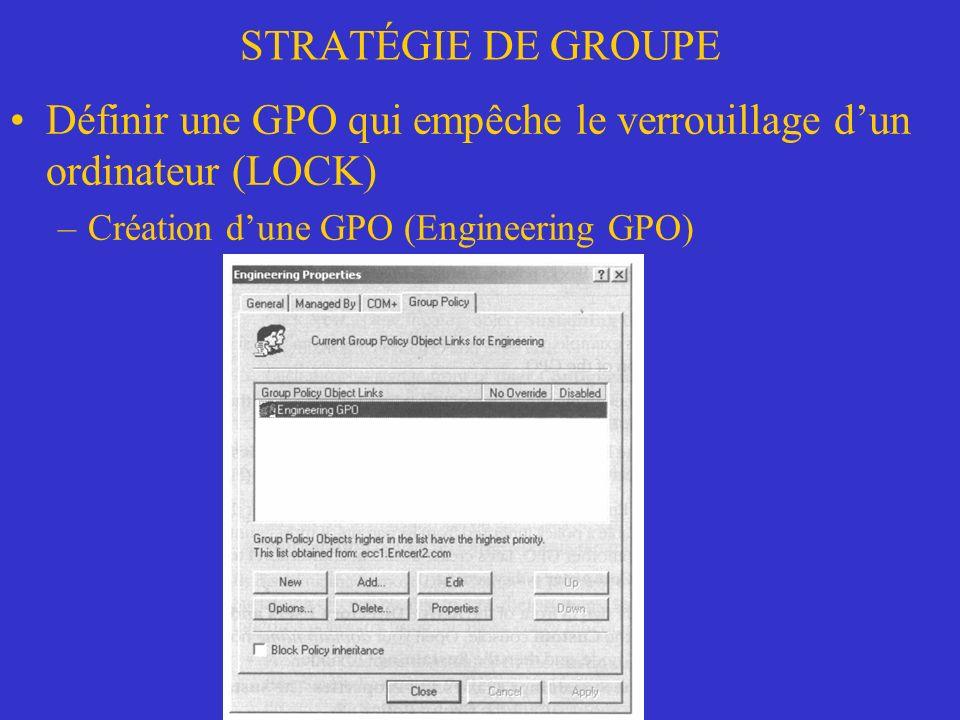 STRATÉGIE DE GROUPE Définir une GPO qui empêche le verrouillage dun ordinateur (LOCK) –Création dune GPO (Engineering GPO)
