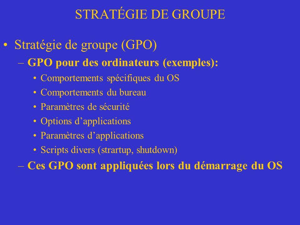 STRATÉGIE DE GROUPE Stratégie de groupe (GPO) –GPO Administrative template Plusieurs fichiers template (.adm) appelés administrative template fournissent des informations stratégiques sur chaque item dans le dossier Administrative Template.