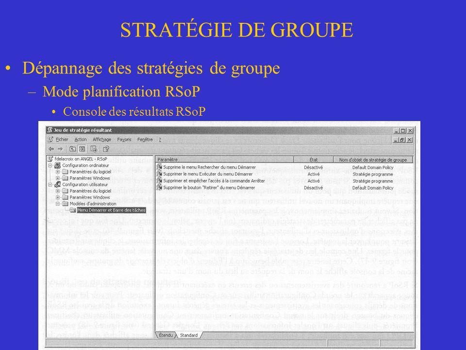 STRATÉGIE DE GROUPE Dépannage des stratégies de groupe –Mode planification RSoP Console des résultats RSoP