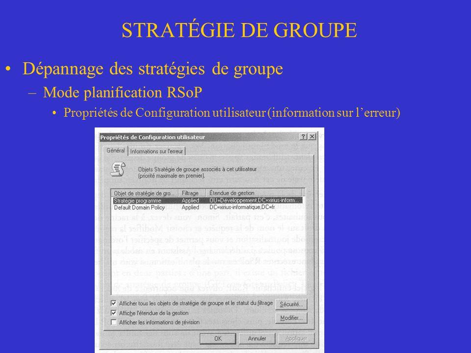 STRATÉGIE DE GROUPE Dépannage des stratégies de groupe –Mode planification RSoP Propriétés de Configuration utilisateur (information sur lerreur)