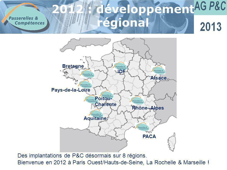 Sommaire 2012 : développement régional Des implantations de P&C désormais sur 8 régions. Bienvenue en 2012 à Paris Ouest/Hauts-de-Seine, La Rochelle &