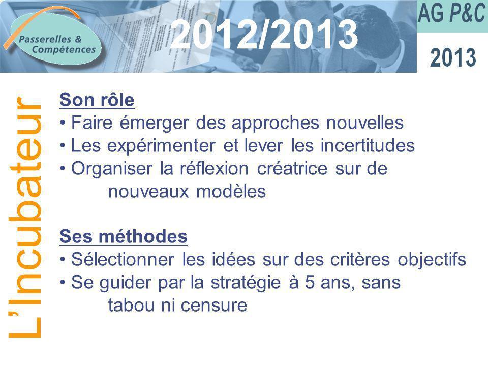 Sommaire 2012/2013 Son rôle Faire émerger des approches nouvelles Les expérimenter et lever les incertitudes Organiser la réflexion créatrice sur de n
