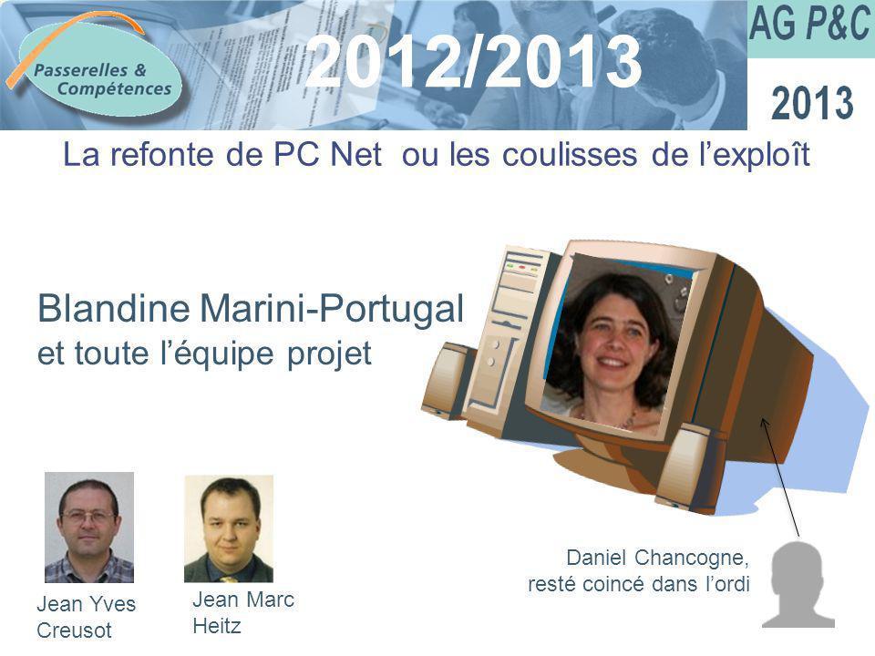 Sommaire 2012/2013 La refonte de PC Net ou les coulisses de lexploît Blandine Marini-Portugal et toute léquipe projet Jean Yves Creusot Jean Marc Heit