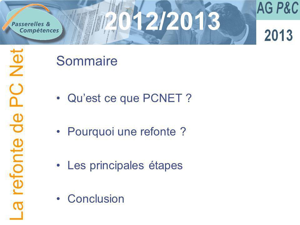 Sommaire Quest ce que PCNET ? Pourquoi une refonte ? Les principales étapes Conclusion 2012/2013 La refonte de PC Net