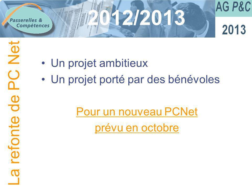 Sommaire 2012/2013 Un projet ambitieux Un projet porté par des bénévoles Pour un nouveau PCNet prévu en octobre La refonte de PC Net
