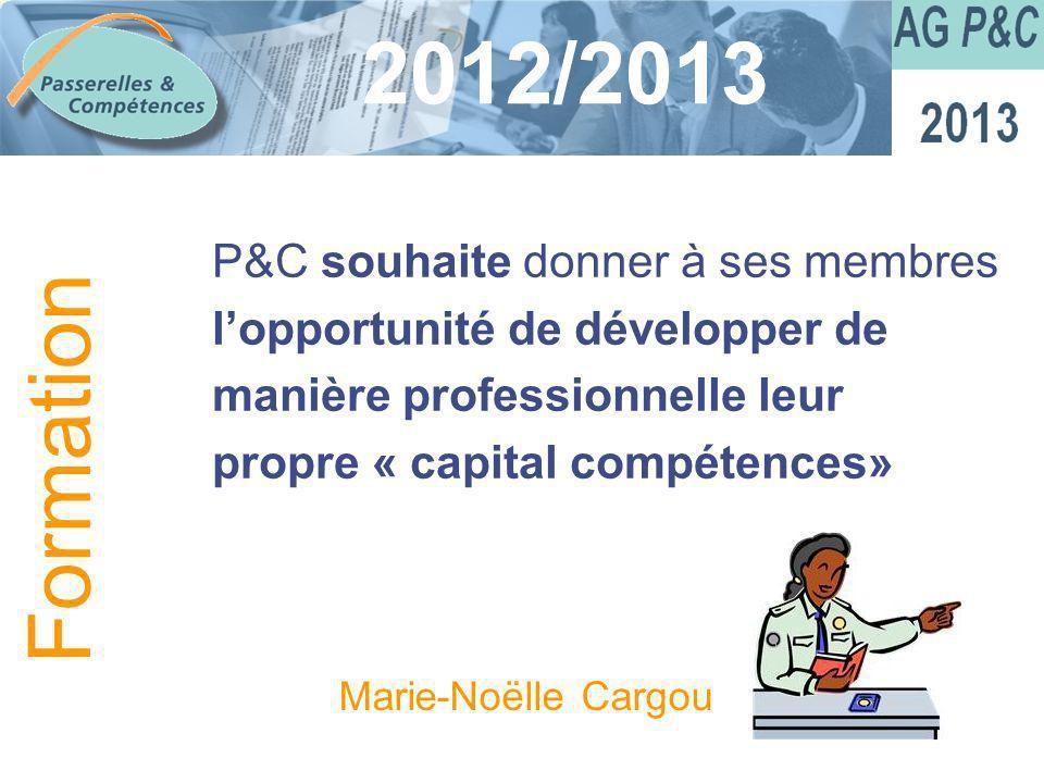 Sommaire 2012/2013 P&C souhaite donner à ses membres lopportunité de développer de manière professionnelle leur propre « capital compétences» Formatio