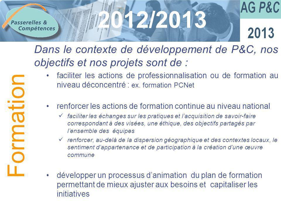 Sommaire 2012/2013 Dans le contexte de développement de P&C, nos objectifs et nos projets sont de : faciliter les actions de professionnalisation ou d