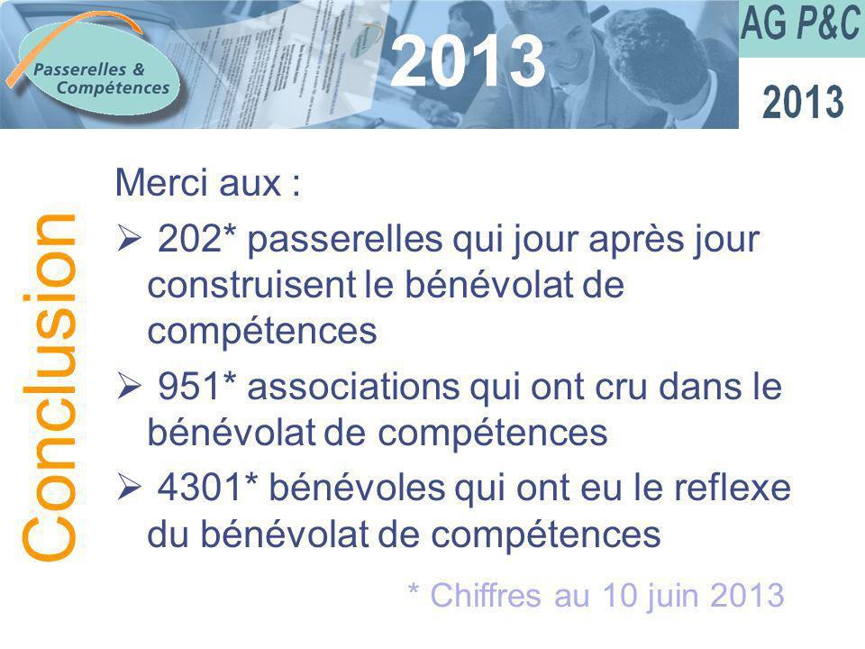 Sommaire 2013 Merci aux : 202* passerelles qui jour après jour construisent le bénévolat de compétences 951* associations qui ont cru dans le bénévola