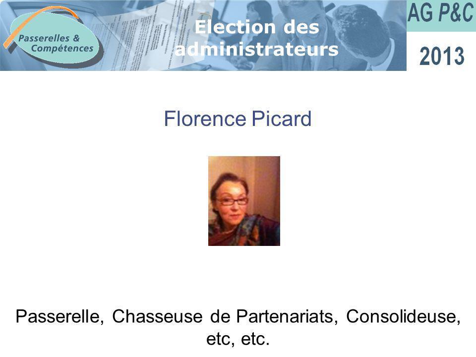 Sommaire Florence Picard Election des administrateurs Passerelle, Chasseuse de Partenariats, Consolideuse, etc, etc.