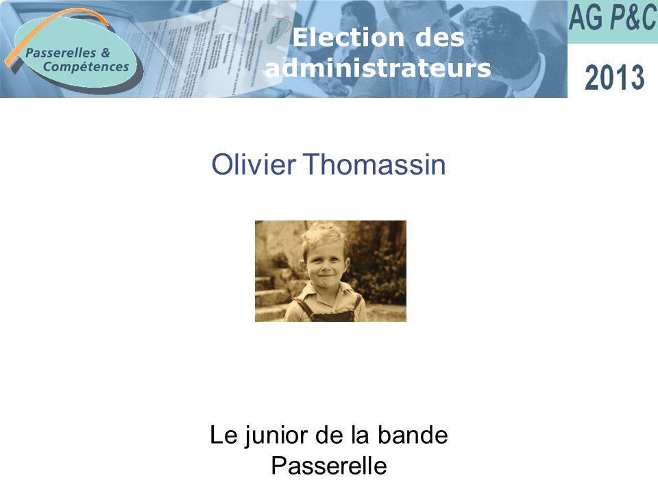 Sommaire Olivier Thomassin Election des administrateurs Le junior de la bande Passerelle