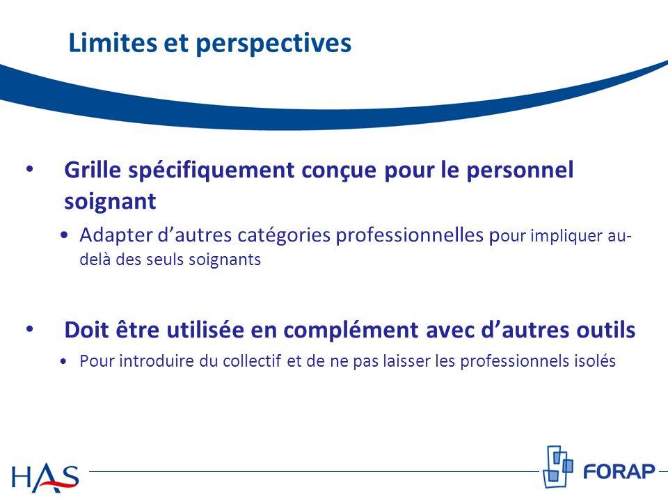 Limites et perspectives Grille spécifiquement conçue pour le personnel soignant Adapter dautres catégories professionnelles p our impliquer au- delà d