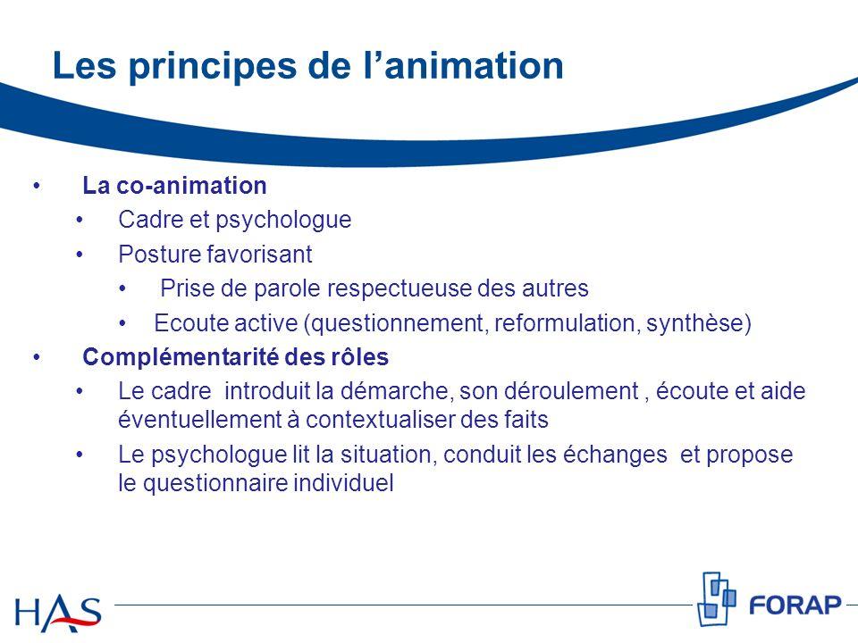 Les principes de lanimation La co-animation Cadre et psychologue Posture favorisant Prise de parole respectueuse des autres Ecoute active (questionnem