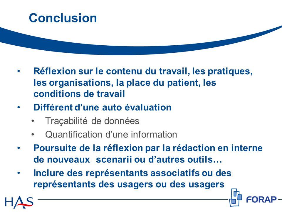 Conclusion Réflexion sur le contenu du travail, les pratiques, les organisations, la place du patient, les conditions de travail Différent dune auto é