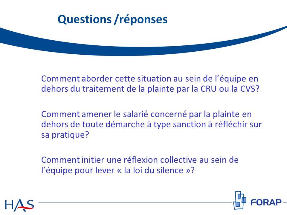Questions /réponses Comment aborder cette situation au sein de léquipe en dehors du traitement de la plainte par la CRU ou la CVS? Comment amener le s