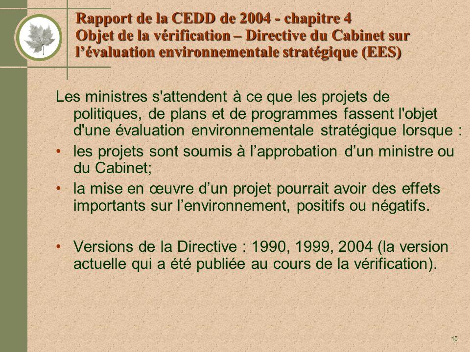 10 Rapport de la CEDD de 2004 - chapitre 4 Objet de la vérification – Directive du Cabinet sur lévaluation environnementale stratégique (EES) Les ministres s attendent à ce que les projets de politiques, de plans et de programmes fassent l objet d une évaluation environnementale stratégique lorsque : les projets sont soumis à lapprobation dun ministre ou du Cabinet; la mise en œuvre dun projet pourrait avoir des effets importants sur lenvironnement, positifs ou négatifs.